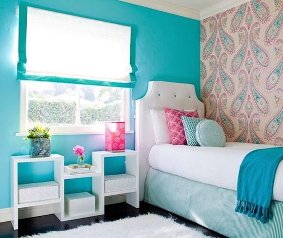 Significado de los colores para el dormitorio - Azul turquesa pared ...