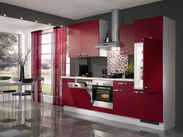 cocina lineal rojo borgoña