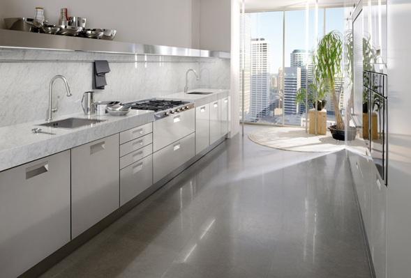 Cocinas lineales modernas - Witte quartz werkblad ...