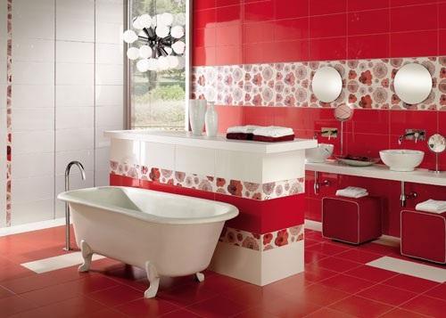 Baño Blanco Con Rojo:12 Fotos de Baños en Colores Vivos