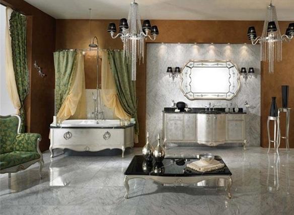 Baños Diseno Clasico:La zona de la ventana va de la mano con una cortina plisada de tela