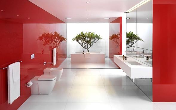 Baños Modernos Rojos:Los muebles modernos para baño en color rojo le pueden dar un acento
