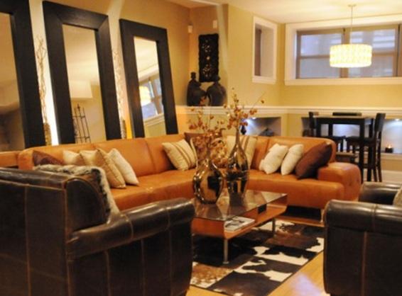 Decorar salas con espejos Burnt orange leather living room furniture