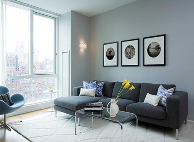 Decorar tu sala estilo minimalista for Sala gris con azul