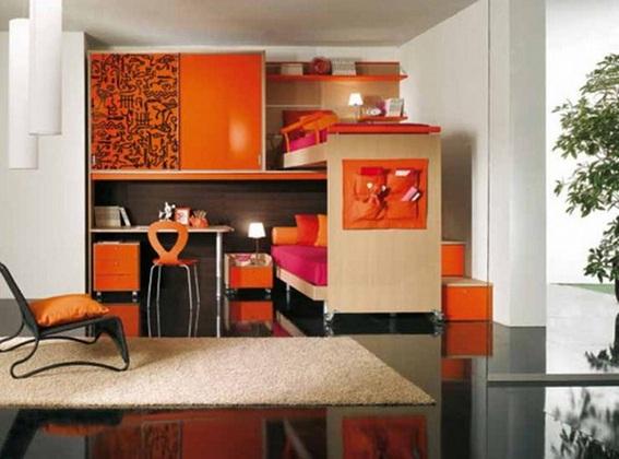 Dormitorios juveniles decorados color naranja for Escritorio para recamara