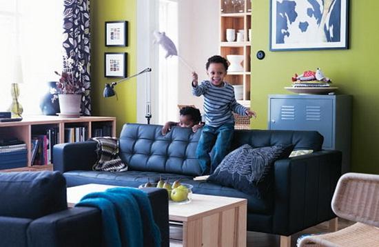 Fotos de salas decoradas con sofás color azul
