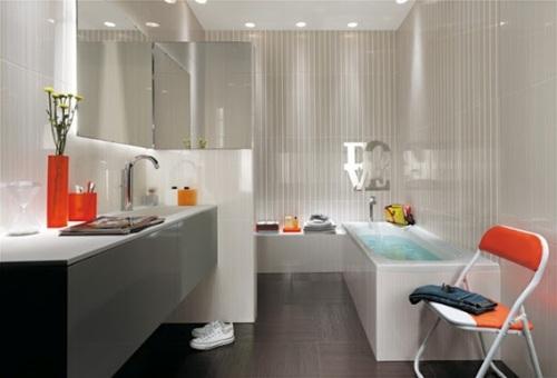 18 ba os decorados en naranja. Black Bedroom Furniture Sets. Home Design Ideas