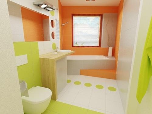 18 ba os decorados en naranja for Great un bano con paredes en naranja de