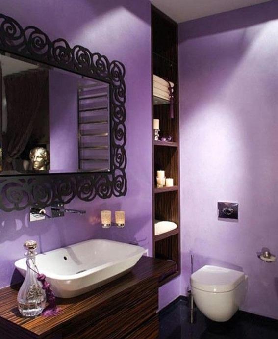 Imagenes Baños Femeninos:Un cuarto de baño lavanda nos transmite una sensación de paz y