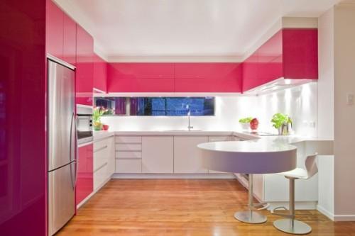 19 dise os de cocinas en color rosa - Cocina rosa ...