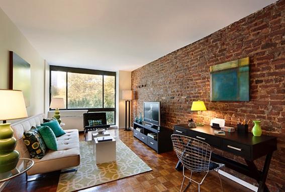 para integrar una pared de ladrillos a la decoracin de la sala es importante mantener equilibrio y coordinacin de colores para que no existan golpes