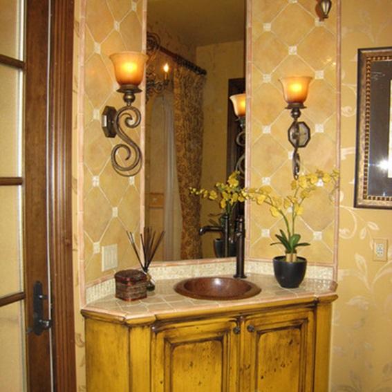 Lavamanos Baño Pequeno:Este diseño parece ser muy femenino, con detalles curvos, delicados y