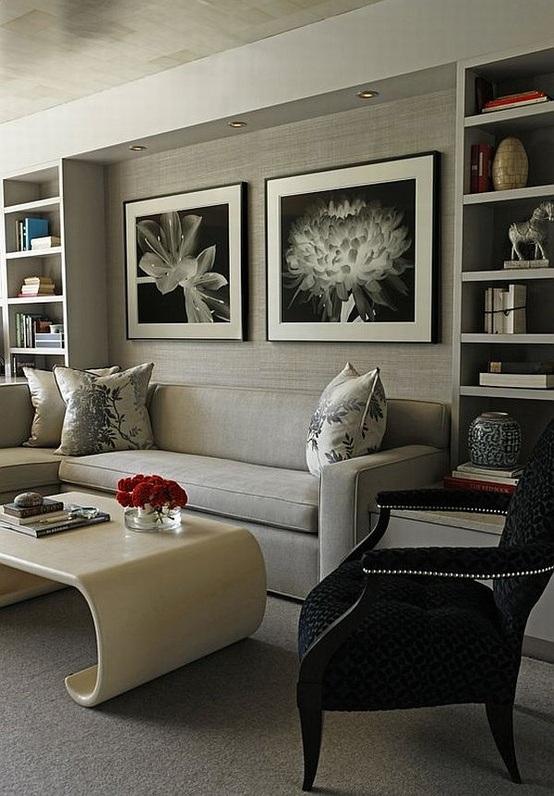 22 dise os de salas en color gris para inspirarte for Decoracion de interiores en color gris