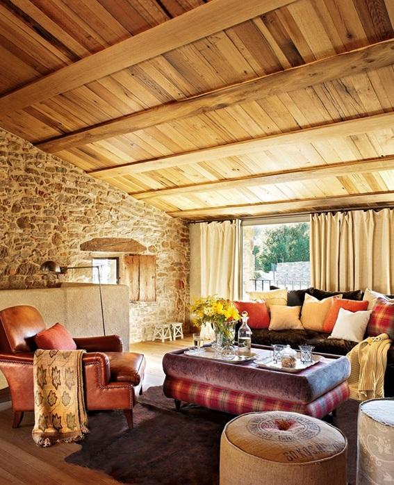 22 acogedoras salas con paredes de piedra - Pared interior de piedra ...