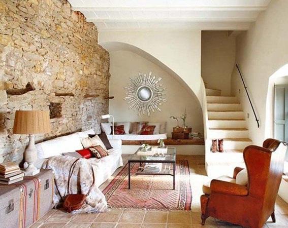 22 acogedoras salas con paredes de piedra