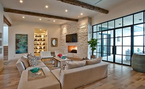22 acogedoras salas con paredes de piedra - Paredes de piedra para interiores ...