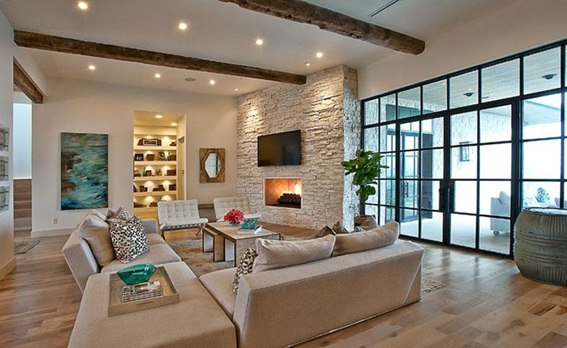 22 acogedoras salas con paredes de piedra - Paredes modernas para interiores ...
