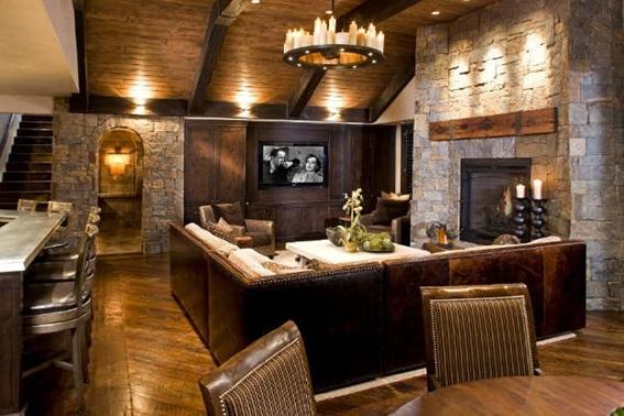 22 acogedoras salas con paredes de piedra. Black Bedroom Furniture Sets. Home Design Ideas