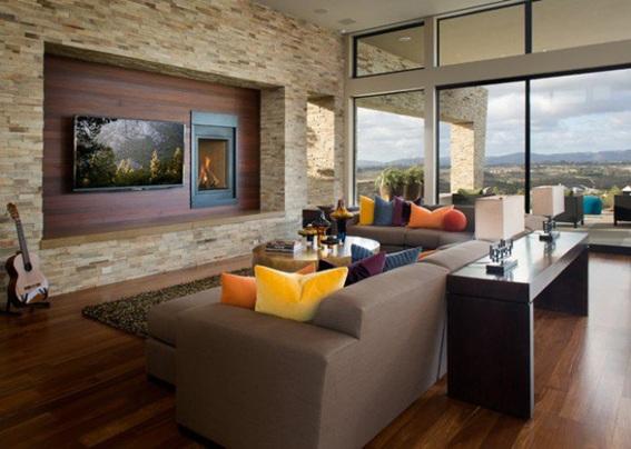 22 acogedoras salas con paredes de piedra for Diseno de paredes para salas