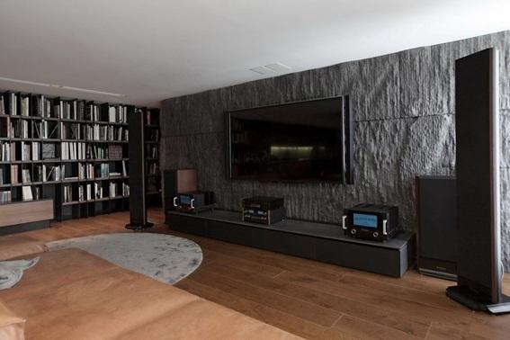 22 acogedoras salas con paredes de piedra - Pintura de pizarra para paredes ...