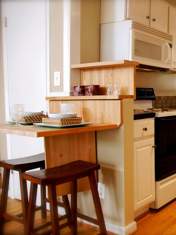 12 dise os cocinas con mesas plegables para ahorrar espacio - Cocinas pequenas con mesa ...