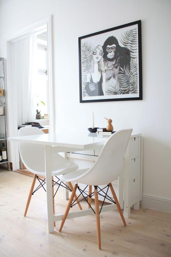 12 dise os cocinas con mesas plegables para ahorrar espacio - Mesa plegable cocina pared ...