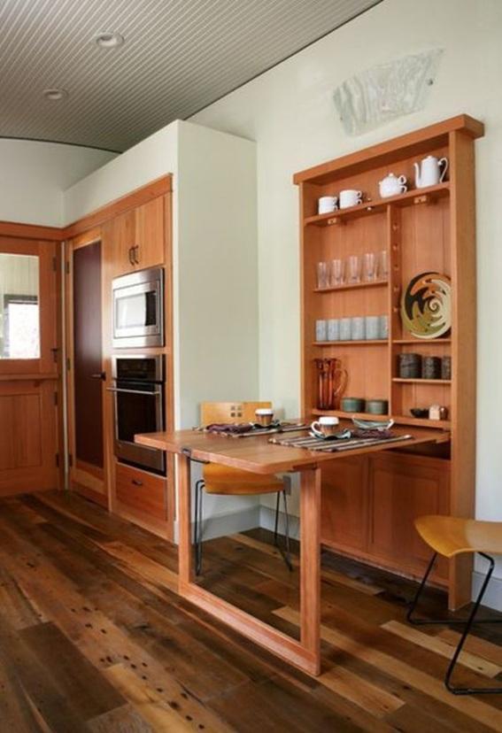 12 dise os cocinas con mesas plegables para ahorrar espacio - Mesa plegable de cocina ...