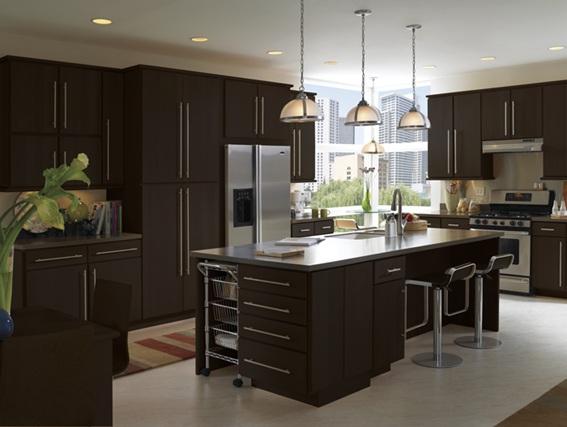 15 dise os de cocinas en caf oscuro for Marmol color cafe