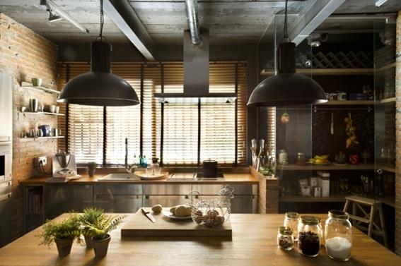 20 dise os de cocinas estilo industrial for Barra estilo industrial