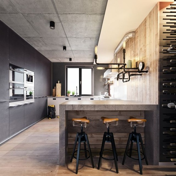20 dise os de cocinas estilo industrial for Estilos de cocinas