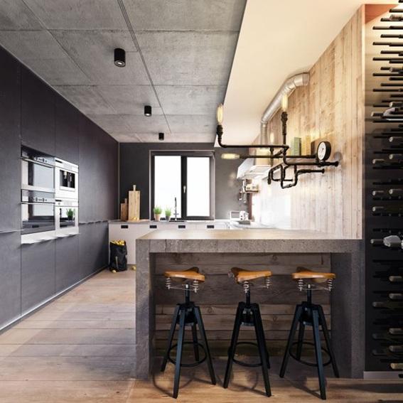 20 dise os de cocinas estilo industrial for Comedor tipo barra