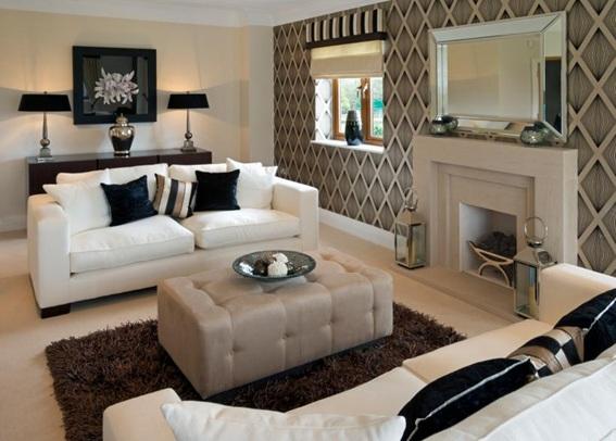 12 salas decoradas en blanco y caf for Sillones para salas pequenas
