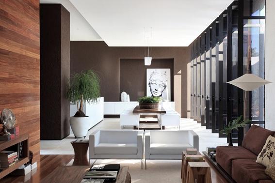 12 salas decoradas en blanco y caf for Casa minimalista interior blanco