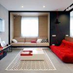Pequeño Apartamento Decorado en Rojo, Negro y Blanco