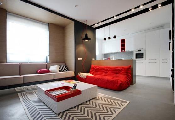 apartamento decorado rojo, blanco y negro