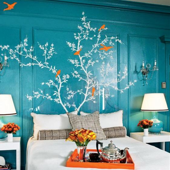 Ideas para decorar con adhesivos la zona del cabecero de for Adhesivos pared dormitorio