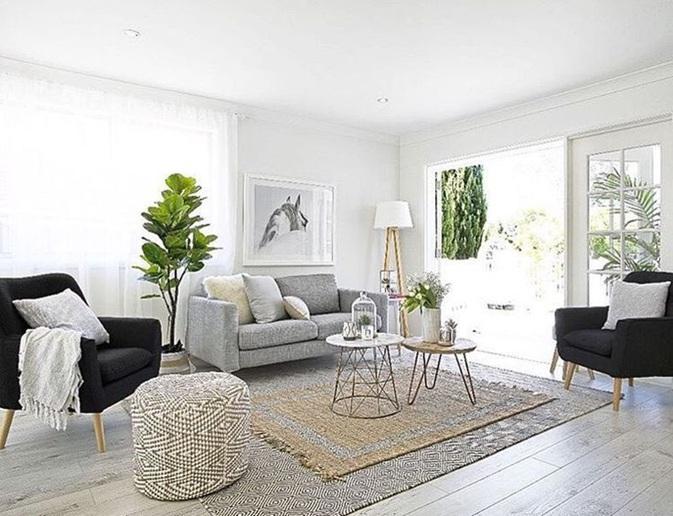 sala decorada con alfombra