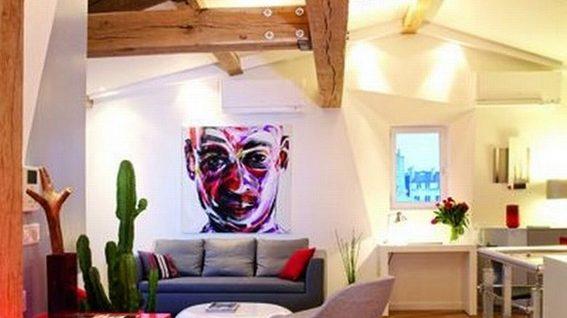 magnfica decoracin de apartamento con detalles color rojo