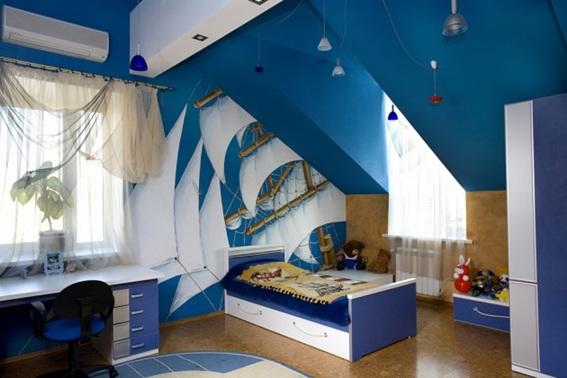 foto de dormitorio infantil azul